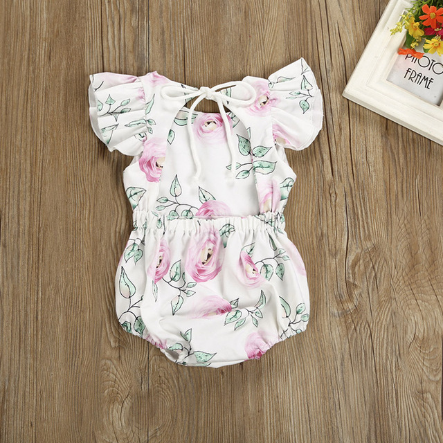Baby Girl Pink Rose Short Sleeve Romper