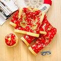 Хлопок Китайский Традиционный Вышивки Новый Год Одежда для Мальчика Зимний Хлопок Одежда Тан Костюмы Толстая Младенческой Костюм