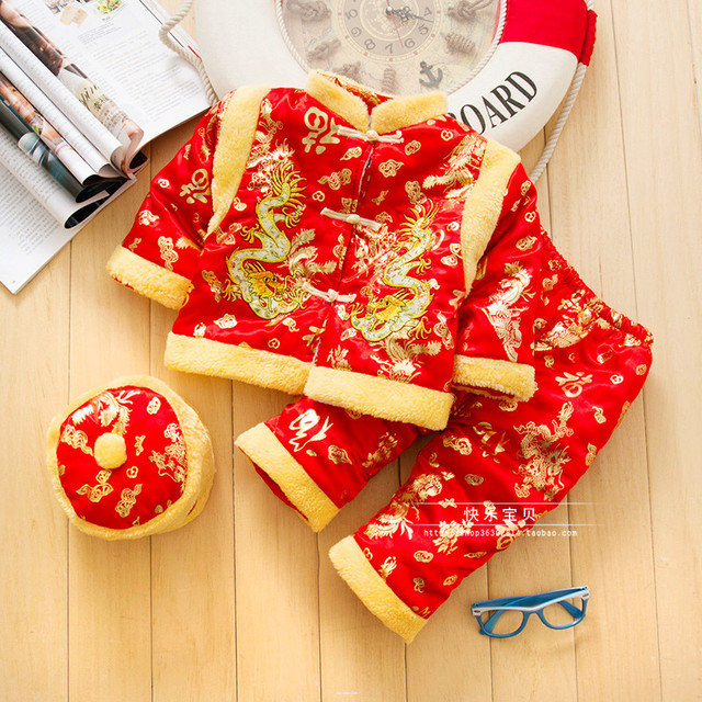 Cotton Chinese Traditional Embroidery New Year Clothes for Baby Boy Winter Cotton Clothing Tang Suits Thick Infant Costume