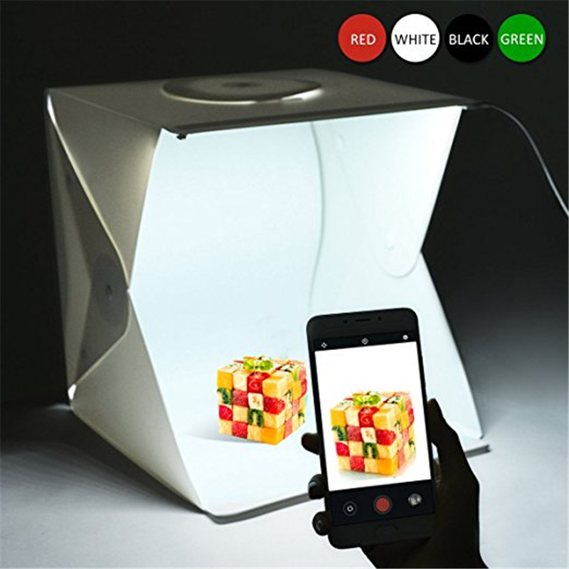 16 Inch Portable Photo Studio Shooting Tent, LEPOTEC Small Foldable LED Light Box Softbox Kit with 4 Colors Backdrops puluz 40 40cm 16light photo studio box mini photo studio photograghy softbox led photo lighting studio shooting tent box kit