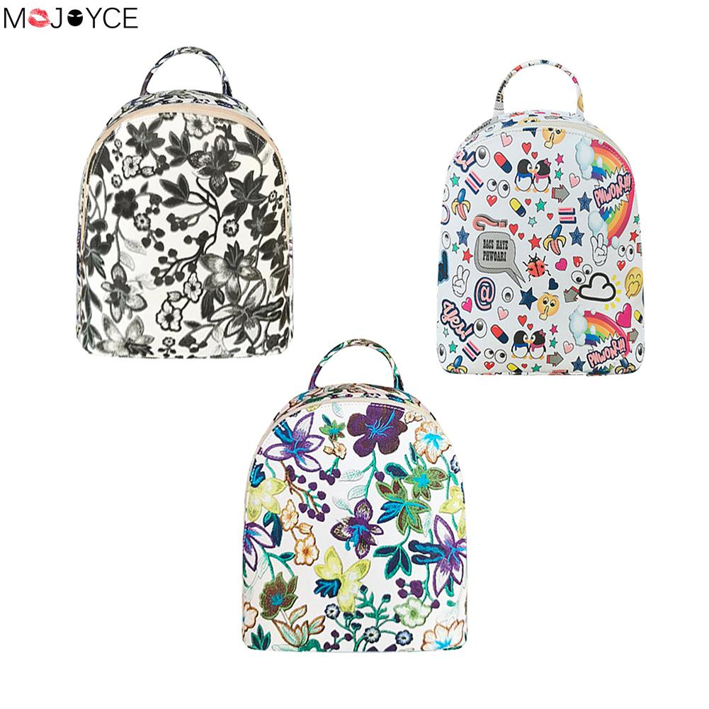 Women School Bags Floral Printing Leather Backpack for Teenage Girls Travel Small Backpacks Mochila Feminina Rucksack Bagpack # угловая шлифмашина bosch gws 850 125 ce 0601378792