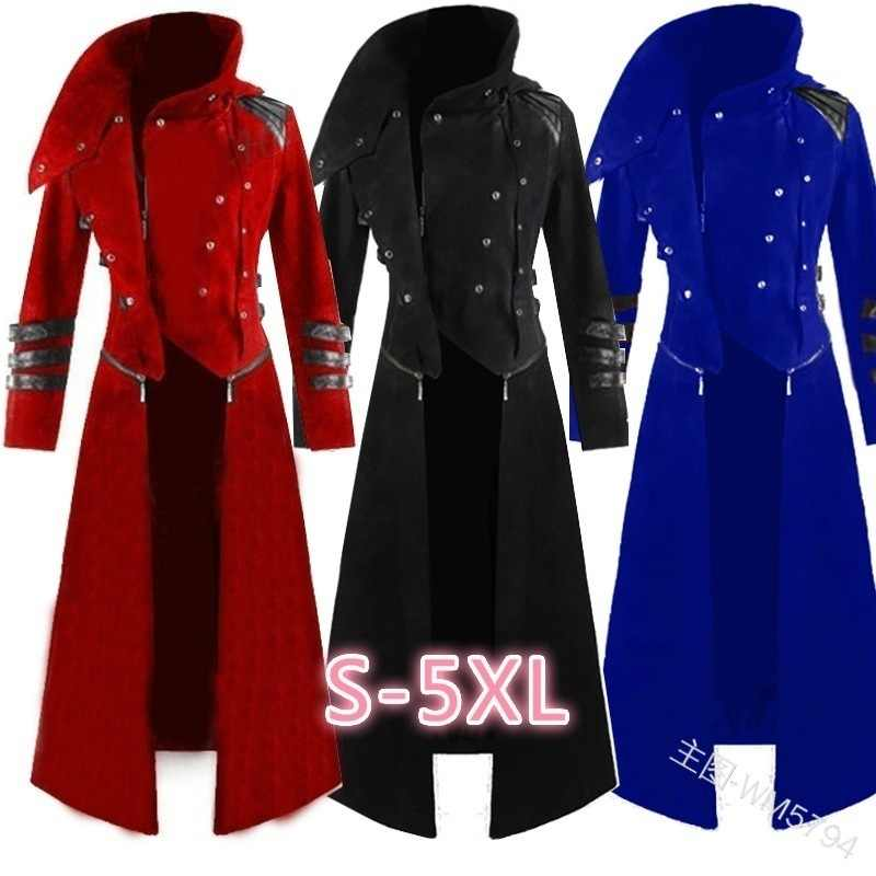 Mens בציר גותי Steampunk תעלת ערפד מסיבת מעייל פראק ארוך מעיל מעיל הרבה בתוספת גודל S-5XL