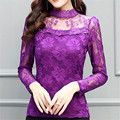 Fashion New  Elegant Women's Shirts 2016 Free Shipping Plus Size  Autumn Stand Lace Blouse Shirts Long Sleeve Sexy Tops 83F 25