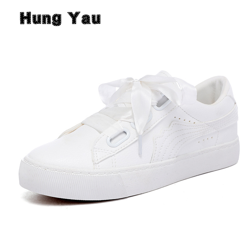 Hung Yau Women Leather Flat 2018 Spring Summer Casual Shoes Women Lace-Up Platform White Comfortable Shoes Loafers Sneakers Flat hung yau women oxfords flats casual platform black shoes woman spring summer style fashion women lace up flat shoes size us 8