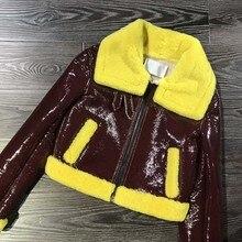 Ptslan Women's Real Leather Jacket  Fashion Bright Colors Black  Coat  Long Biker Jacket Jacket Female Wool liner