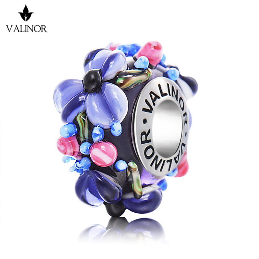 Purple <font><b>flowers</b></font> glass beads charms 925 Sterling Silver fit Bracelets & Bangles for Women Jewelry GCLL039-2