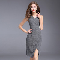 Women Autumn Dress Office Ladies Elegant V Neck Sexy Split Grey Plaid Pencil Slim Dress Sleeveless Empire Slim Dress
