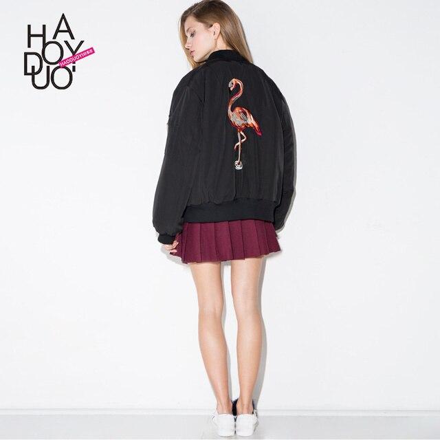 Haoduoyi 2016 Весна Осень Женщины Куртка Бомбардировщика Черный Мода Свободные Вышивка Стенд Воротник Длинным Рукавом Молнии Бейсбол Пиджаки