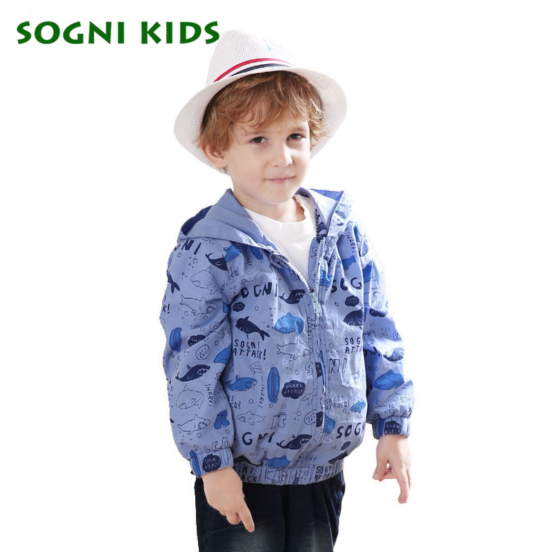 ФОТО SOGNI KIDS Print Animals and Letters jackets baby boy Hooded zipper coats kinderkleding Autumn winter 2016 Fashion Boys Outwear