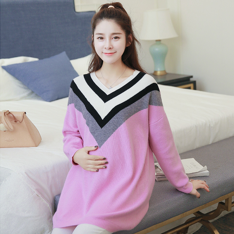 Maternity Sweater V Neck Outerwear Autumn and Winter Clothing Women Thick Sweater