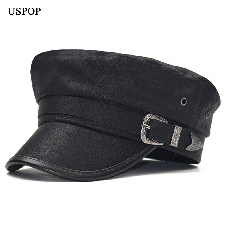 USPOP 2019 New Arrival Autumn Caps For Women Leather Newsboy Caps Military Caps Winter Flat Top Visor Caps Hats