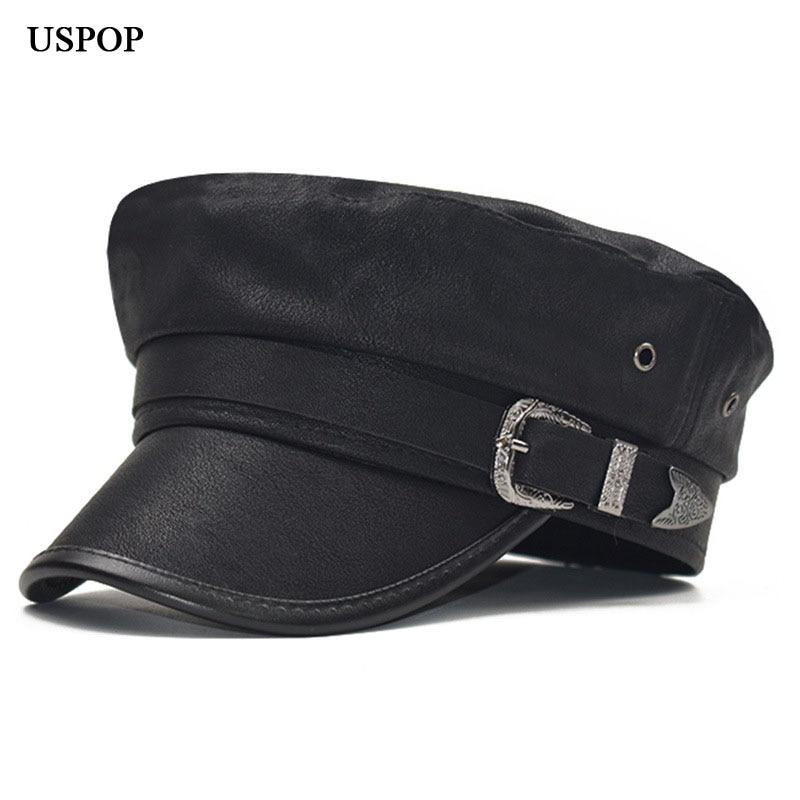 USPOP 2019 New Arrival Autumn Caps For Women Leather Newsboy Caps Military Caps Winter Flat Top Visor Caps Hats