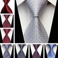 Бизнес-мужские Аксессуары Галстук для Мужчин Геометрический Узор 7.5 см Шелковый Галстук Черный Белый Галстуки для Мужчин Свадьба ST750031-78a