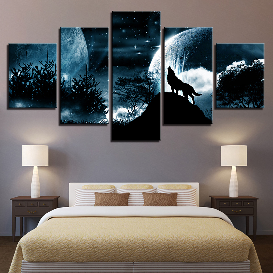 Living Room Modular Pictures HD Printed Canvas 5 Panel Full Moon Night Forest Wolf Framed Wall Art Painting Poster Home Decor