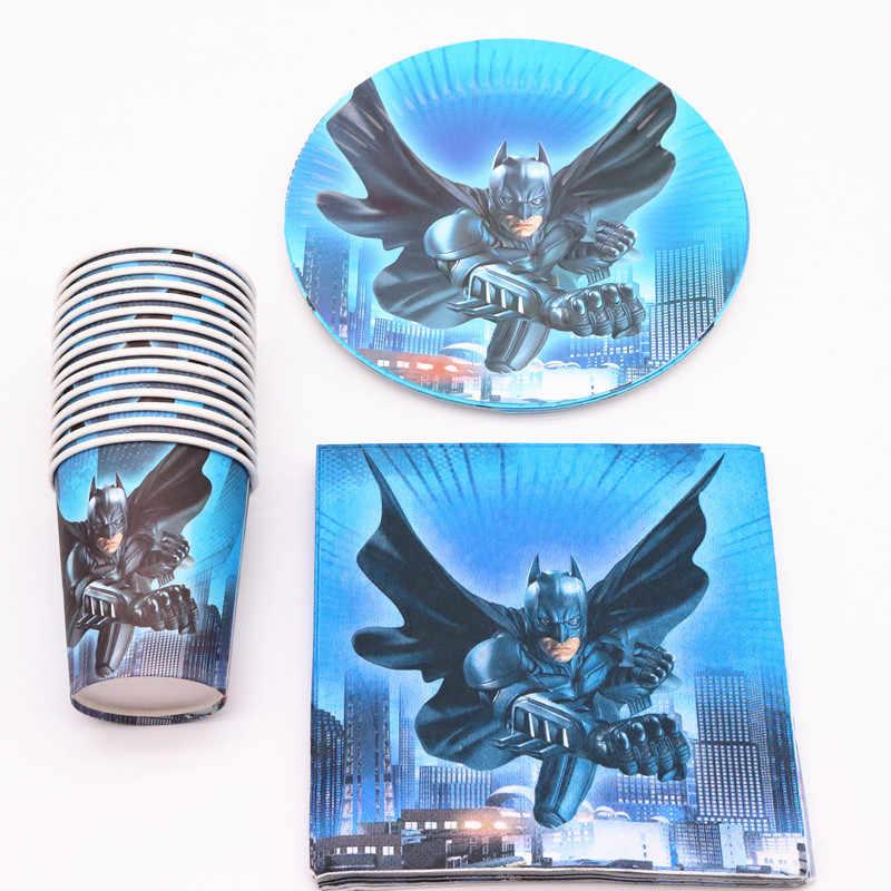 40 шт Бэтмен мультфильм украшение партии тарелки салфетки для стаканчиков крышка