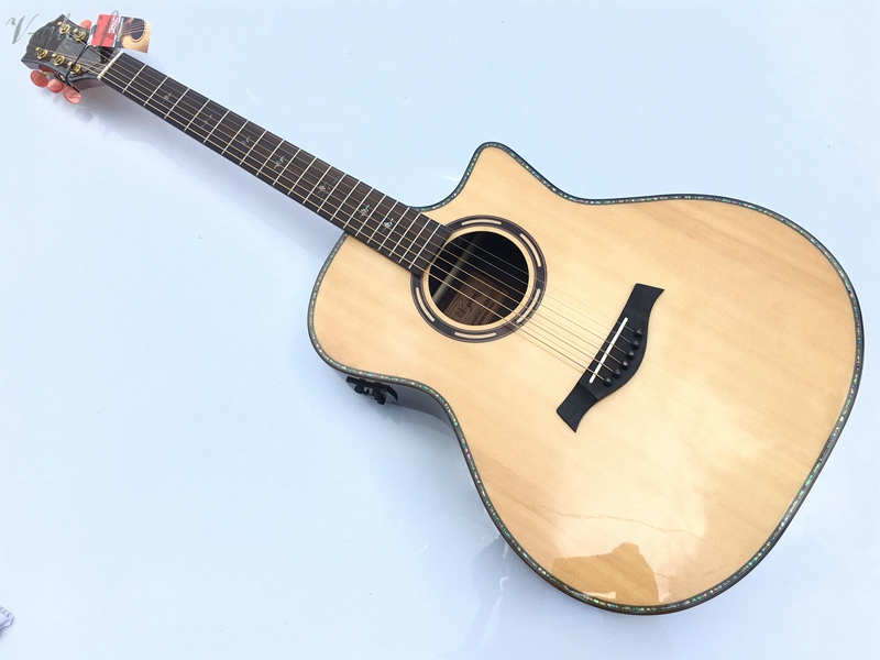 купить professional solid spruce top electric acoustic guitar free string free shipping онлайн