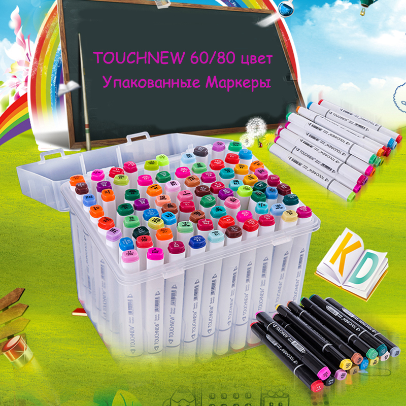 TOUCHNEW  80/60 pics/lot brand art marker with BOX oily alcohol Double Headed Professional copic sketch markers For Russia Only periche professional lipos shampoo oily