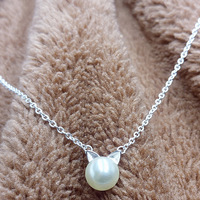 Cute Silver Plated Pearl Cat Pendant Necklace Women Kitten Cat Simulated Pearl Necklace Jewelry Collier Femme Bijoux