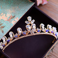 New Fashion Gold Party Crown Tiara with Blue Rhinestone Zirconia Brides Hairbands Wedding Hair Accessories