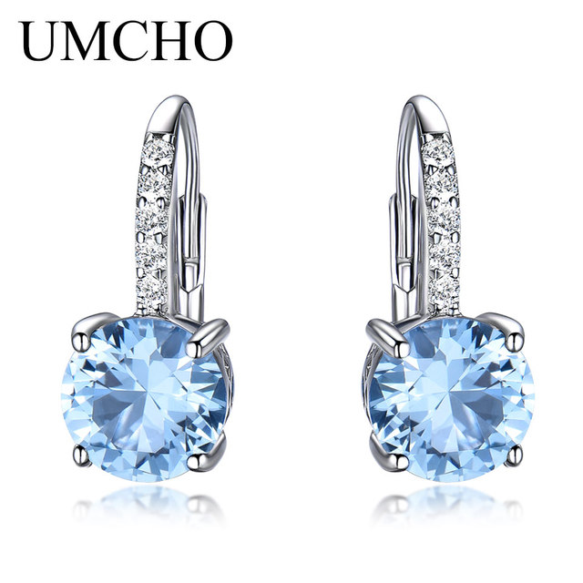 Umcho Real 925 Sterling Silver Clip Earrings For Women Gemstone Sky Blue Topaz Female Round