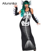 Ailunsnika New Hallween Party Clothes Women Skeleton Siren Cosplay Dresses Hot Sales Cold Shoulder O Neck