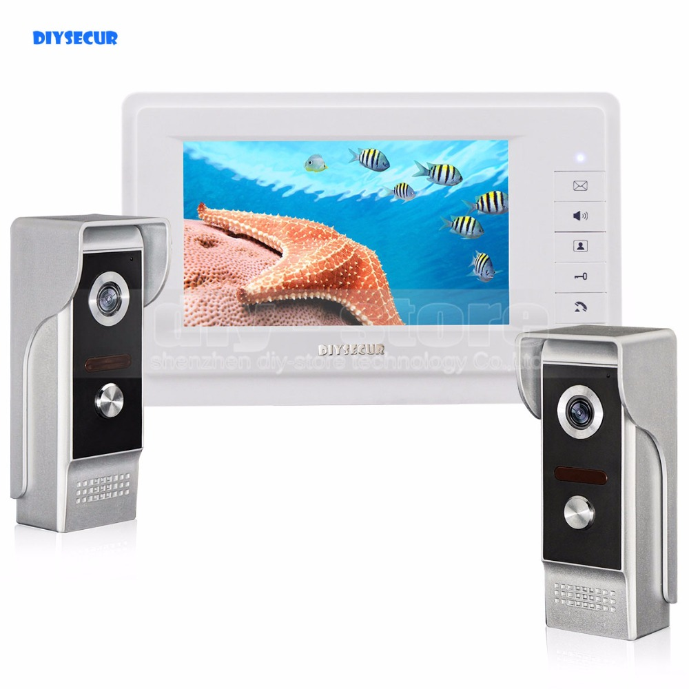 DIYSECUR 7 inch TFT Color LCD Display Video Door Phone Video Intercom Doorbell 700TVLine HD IR Night Vision Camera 2V1 xsl v70f m4 smart video door phone intercom hd 7 inch display