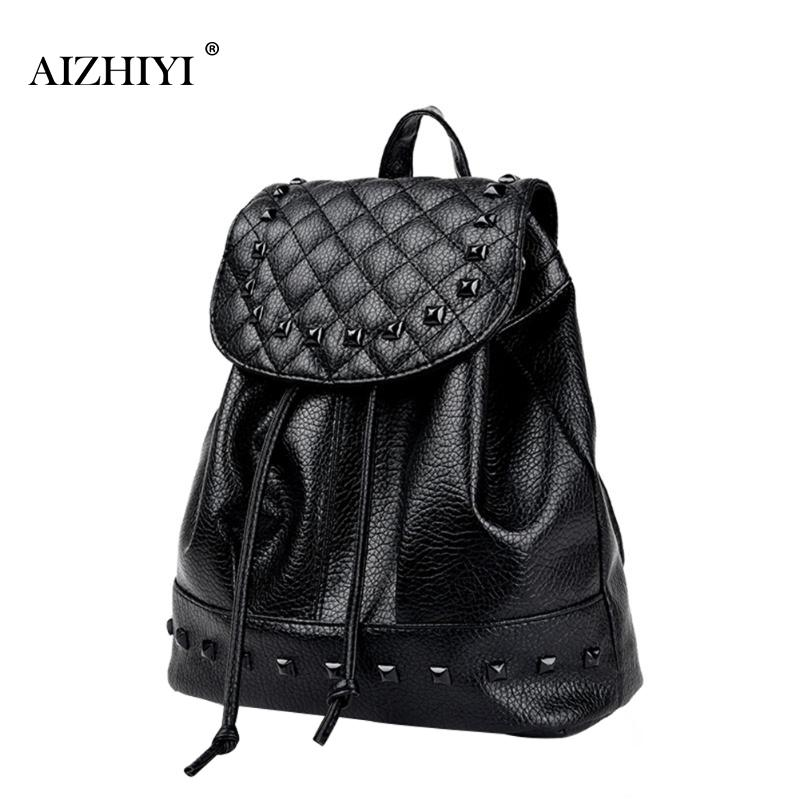 Fashion Women Washed PU Leather Rivet Student Backpack Drawstring Casual Girls Travel Bag Preppy Korean Style Rucksack Bolsas 2016 new winter fashion leisure bag lady korean pu leather rivet travel backpack zipper preppy school bag plaid pattern mini bag