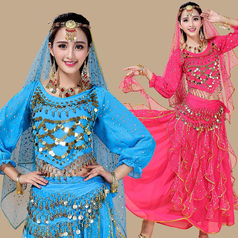 2018 Belly Dance Costumes New Women Fan Veils Belly Dance Belly Dancing Clothing  Indian Ethnic Dance Performance Costume DN1407