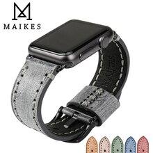 MAIKES אמיתי עור שעון רצועת עבור אפל שעון להקת 44mm 40mm 42mm 38mm סדרת SE 6 5 4 3 2 1 iWatch רצועת השעון צמיד