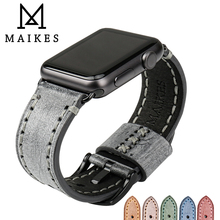 купить MAIKES Genuine Leather Watch Strap For Apple Watch Band 44mm 40mm 42mm 38mm Series 4 3 2 1 iWatch Watchband Watch Bracelet дешево