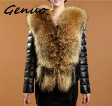 Genuo New 2019 Autumn and winter Haining new fur one female pu short leather coat imitation braid hair collar fast shipping