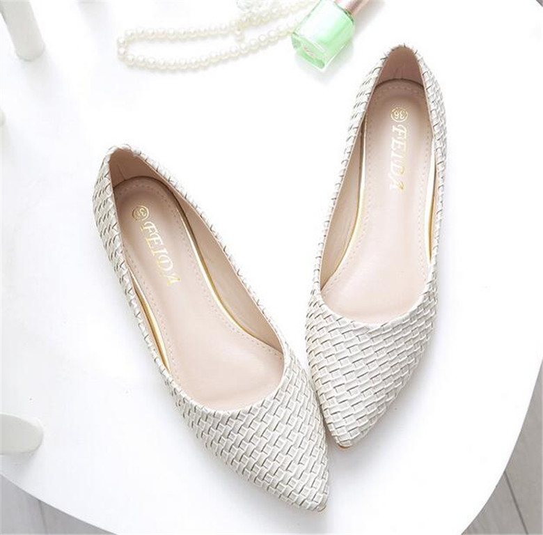 Plus Size 33-44  Spring Summer Sandals leather flats shoes for woman fashion Pointed toe Nude Shoes Ballets women's flat shoes new 2017 spring summer women shoes pointed toe high quality brand fashion womens flats ladies plus size 41 sweet flock t179