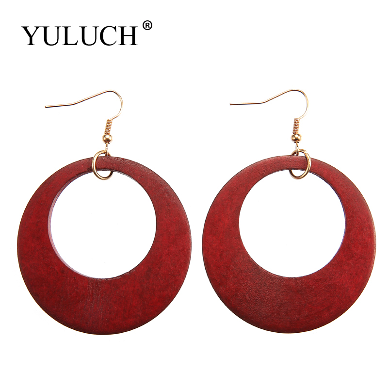 YULUCH Women Vintage Simple Round Natural Wood Drop Earrings Dangle Earrings Big Circle Earrings Jewelry Euramerican