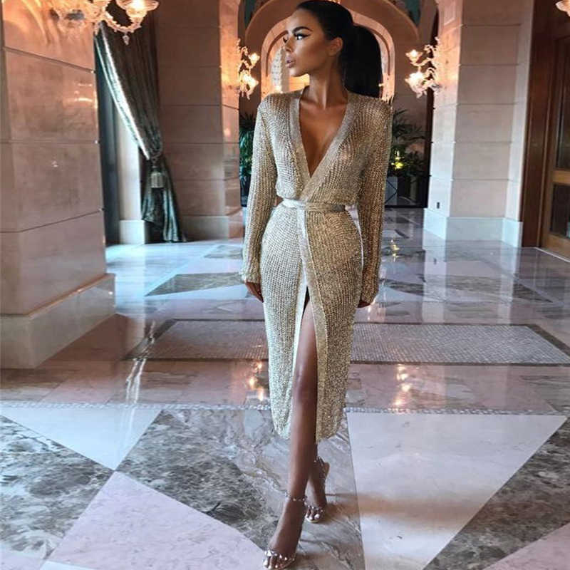 9832efbabd Women hollow out wrap dress Sexy v neck knitted dress Female club wear  party dresses Rose gold robe femme Vestidos 2018 spring