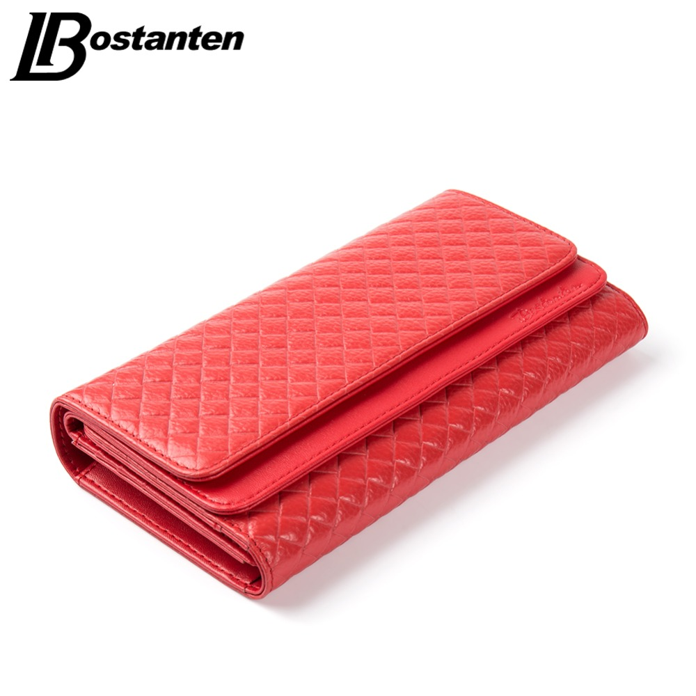 Bostanten Genuine Leather Women Wallets Brand High Quality Long Design Clutch Cowhide Wallet Card Holder Female Purse Clutch high quality floral wallet women long design lady hasp clutch wallet genuine leather female card holder wallets coin purse