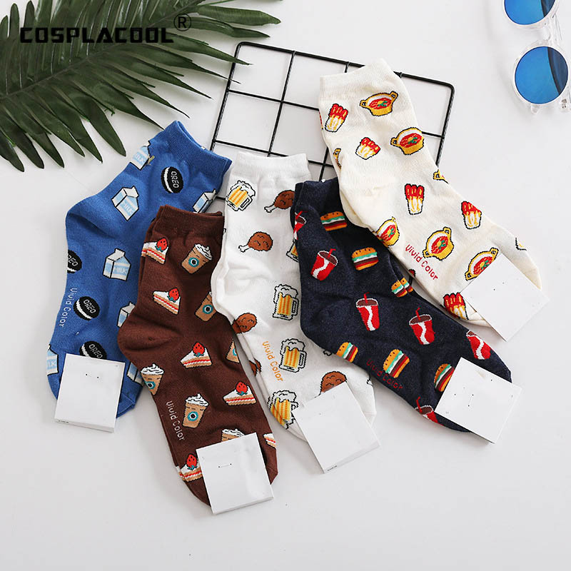 Sweet Food Milk Beer Hamburg Sokken Creative Crew Funny Socks Cute Ice Cream Painting Divertidos Characters Socks Women Novelty