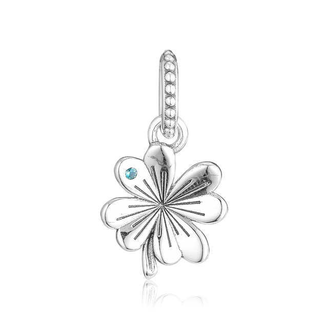 FANDOLA Beads Lucky Four-Leaf Clover Pendant Charms 925 Sterling Silver Fit Charm Bracelets Beads for Jewelry Making kralen