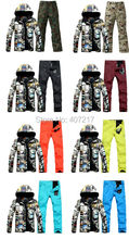 2017 mens top quality ski suit men's snowboarding suit male skiing suit ski jacket and colorful ski pants skiwear skating suit