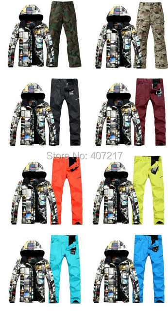 2017 mens top quality ski suit men's snowboarding suit male skiing suit ski jacket and colorful ski pants skiwear skating suit