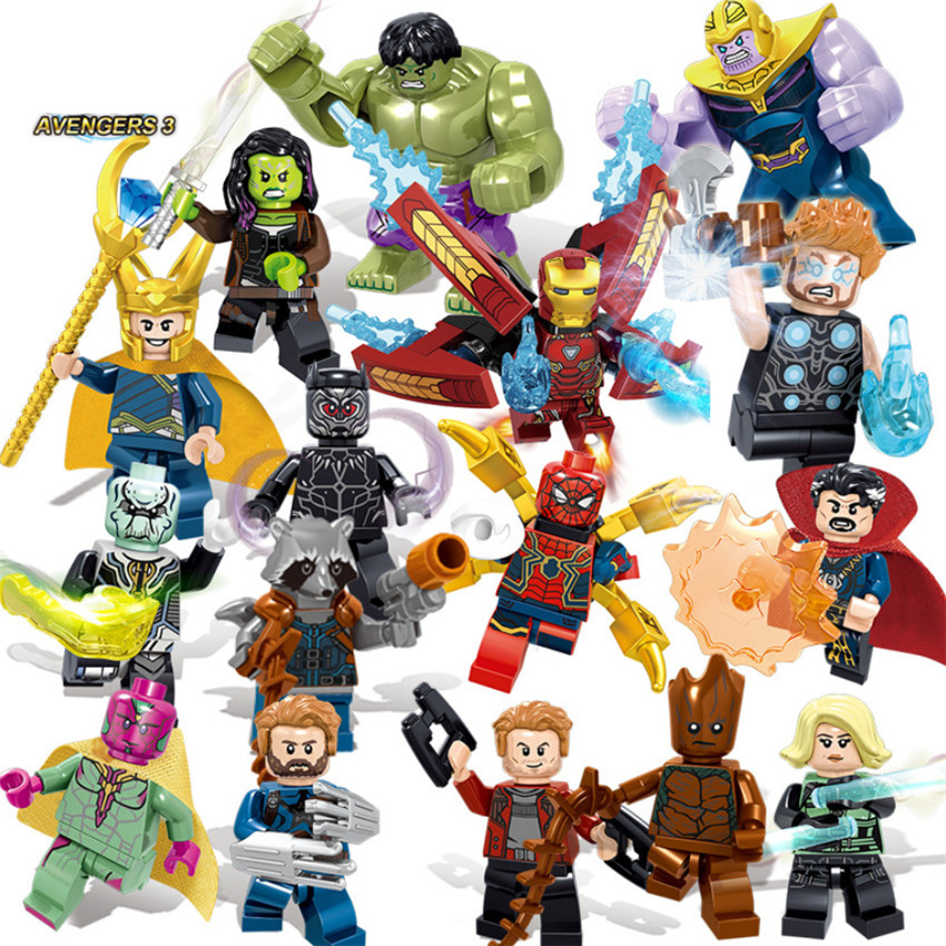 16pcs Super Heroes Bricks Avengers Marvel Building Blocks Infinity War Iron Man Thanos Thor Black Panther Hulk Loki Figures Toys