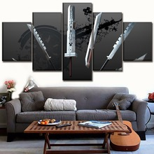 Canvas Wall Art Pictures HD Prints Poster 5 Piece Game Final Fantasy VII Sword Paintings For Living Room Home Decor Framework цены