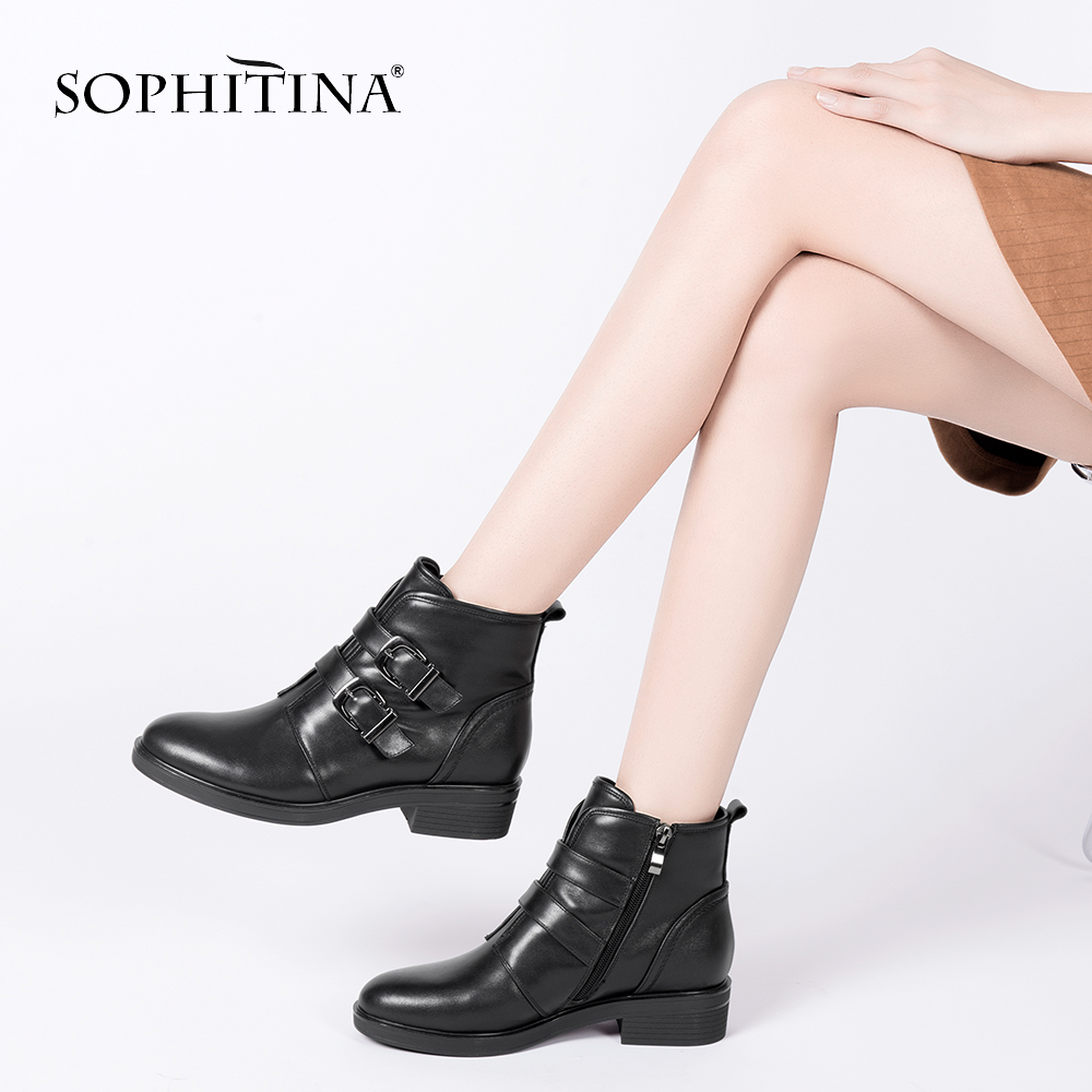 SOPHITINA Women Square Heel Ankle Boots Metal Decoration Round Toe Cow Leather Shoe Handmade With Short