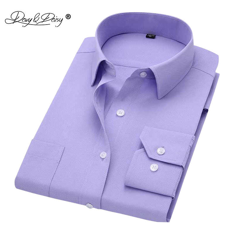 DAVYDAISY 2019 Men Shirt Long Sleeve Fashion Classical Solid Striped Twill Male Business Dress Shirts Men Camisa Masculina DS009