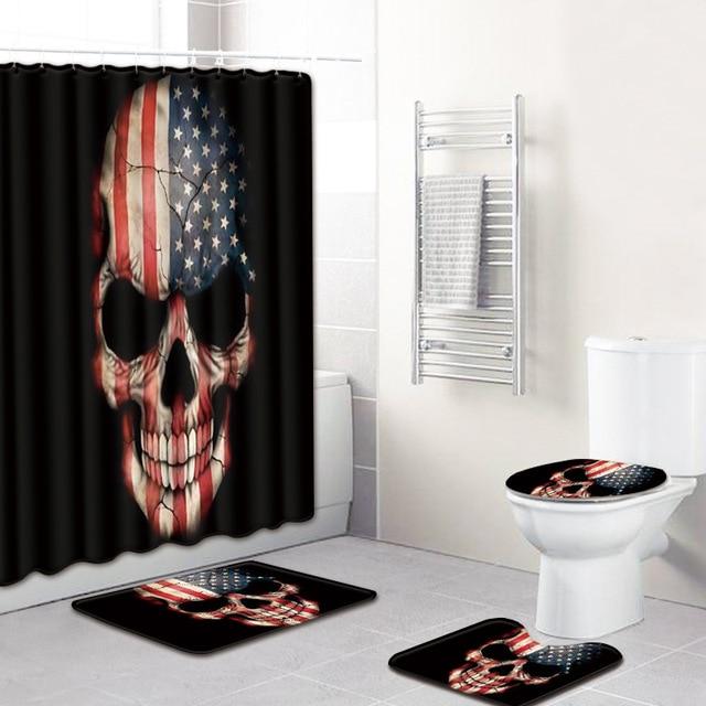 Sugar Skull Bath Mats Bathroom 4 Piece