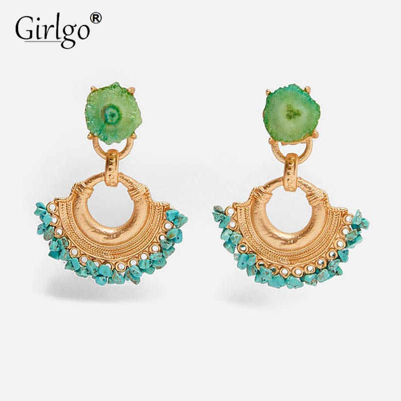 Girlgo 2019 New ZA Stone Green Metal Drop Earrings for Women Ethnic Punk Hanging Statement Earrings Wedding Jewelry Wholesale