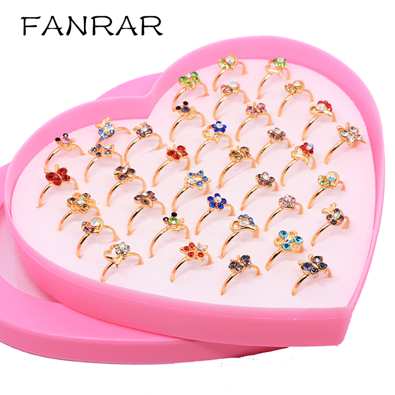 Wholesale Jewelry Mixed Animal Flower Gold plating Crystal Adjustable Rings for Baby Kids Girls Mix Styles Party Gift with box