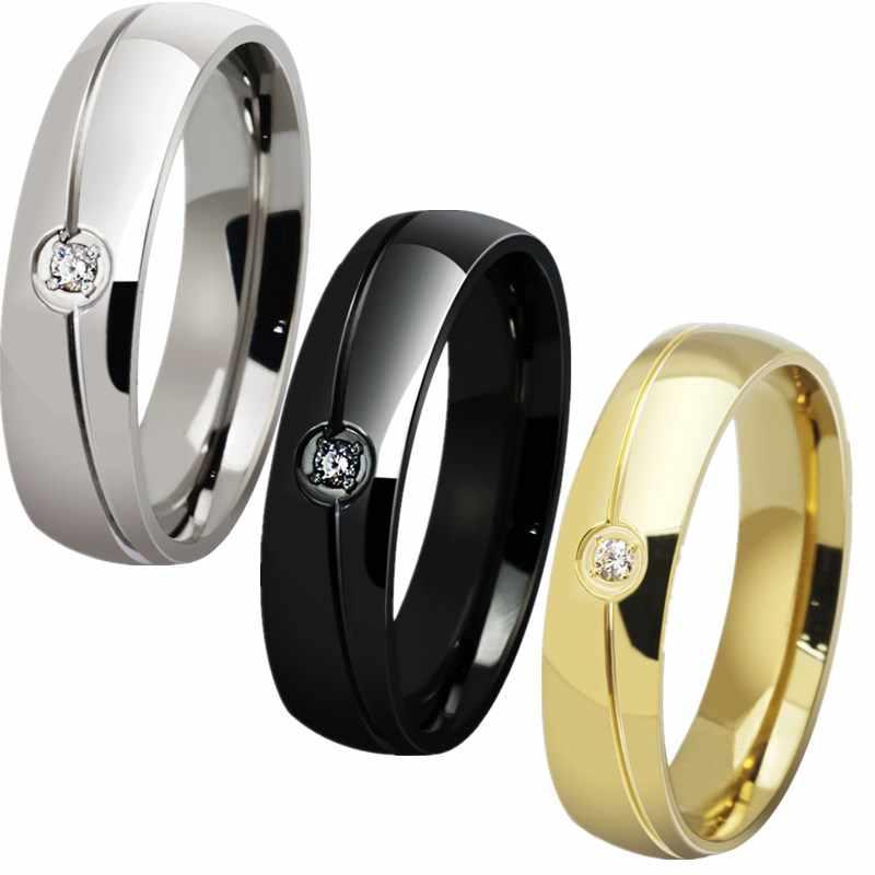 QianBei 6มิลลิเมตรสแตนเลสแหวนวงเงินทองสีดำCZหินCubic Z Irconiaผู้หญิงผู้ชายแต่งงานค๊อกเทลจบการศึกษาคริสต์มาสของขวัญ