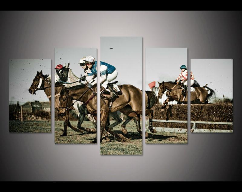 5pcs art Print horse racing painting modern home decor ...