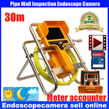 20M/30M Drain Sewer Pipe Endoscope Borescope Inspection Camera System With 12Pcs High Lights LEDS Night Vision meter counter DVR