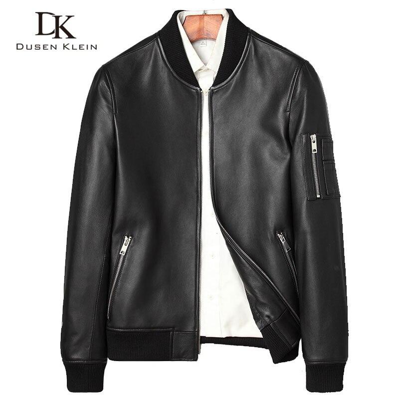 Diseñador Primavera de cuero abrigos hombres Dusen Klein naturaleza oveja Simple moda de lujo de cuero hombres chaqueta de cuero negro 71C7115